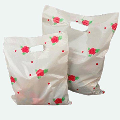 50 Pcs Rose Flower Print 2025cm Thin Plastic Patch Handle Gift Bag Shopping Bag Carrier Bags Party Favour Bag