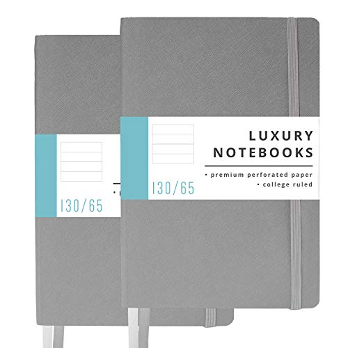 2 Pack Luxury Notebook Journal - 130 Perforated Pages - Thick Paper (120 gsm) - Lay Flat Design - 2 Bookmarks - Elastic Closure - Back Pocket, Set of 2, Softcover, Steel Gray (College Ruled) ()