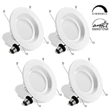 LVWIT 6 Inch LED Downlight 13W Dimmable LED Recessed Lighting 100W Equivalent 1100 Lumens Warm White 3000K E26 Retrofit Fixture ETL-Listed Pack of 4
