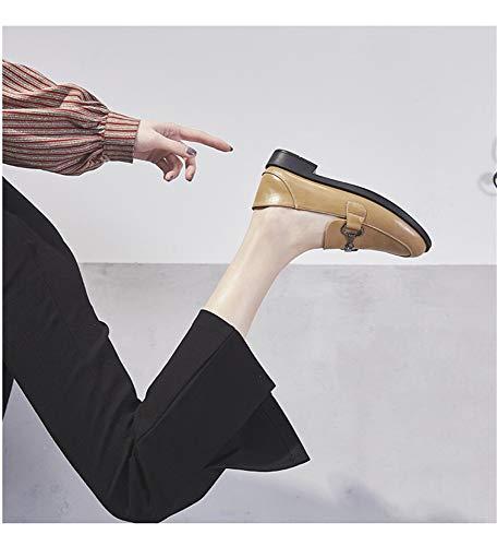 Mocassins Abricot Chaussures Épais En Simples À Chaussures Métal Printemps British Pois Décoratifs Bas Wind Talon Femme rrxSwgqdZ