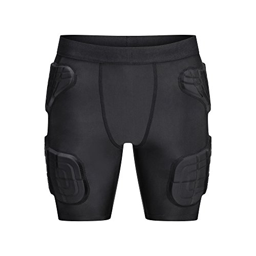 TUOY Youth Boys Padded Compression Shorts Protective Sports Workout Butt Pads Shorts Hip Protector Cycling Basketball Baseball Football Short Pants