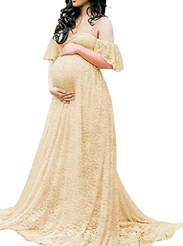 Maternity Photography Props Floral Lace Dress Fancy Pregnancy Gown for Baby Shower Photo Shoot M Apricot