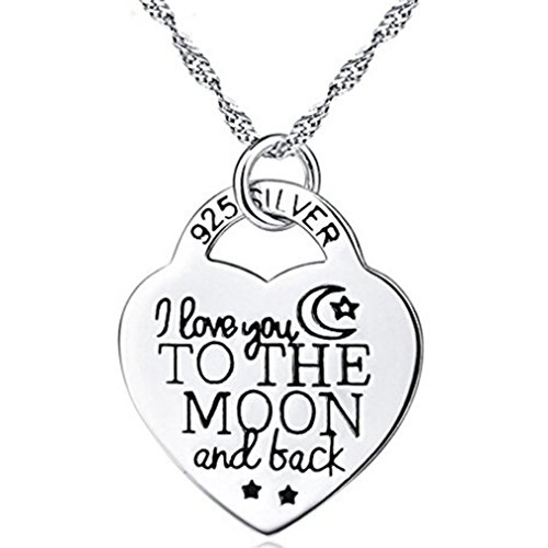 Dolland Silver Love Heart Engraved I Love You to the Moon and Back Pendant Necklace -