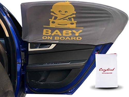Cozybiub PremiumPaquete de 2 parasoles para ventana lateral de coche que protege a bebés y ni ntilde;os de las quemaduras solares el calor y los rayos UV gris M