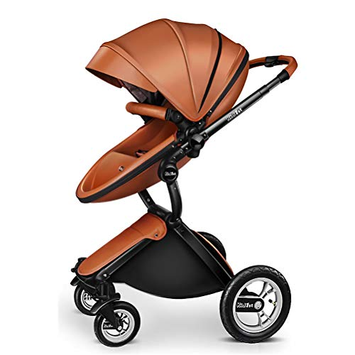 ANYWN Baby Stroller 2 in 1 High Landscape Pram Foldable Pushchair, Sleeping Stroller, Foldable Pram Carriage with 5-Point Harness,Brown