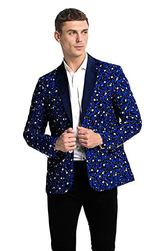 U LOOK UGLY TODAY Men's Christmas Party Blazer Funny Xmas Party Suit Jacket with Santa ()