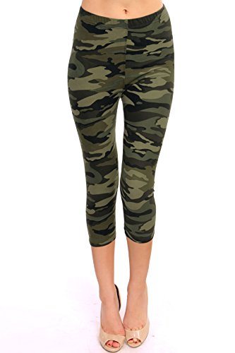 VIV Collection Regular Size Printed Brushed Capris (Green Army -