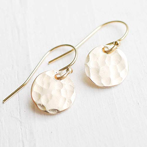 (Hammered Gold Dot Earrings)