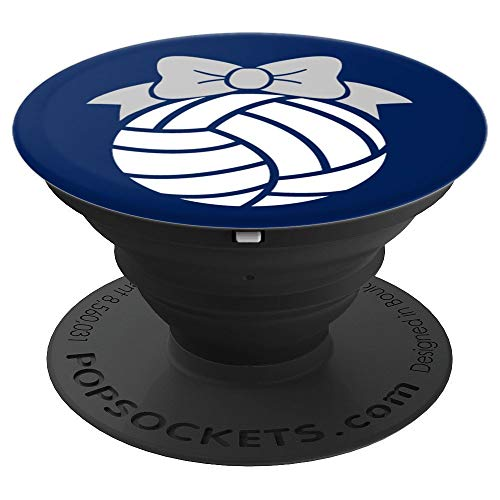 (Volleyball Phone Grip Volleyball Team Sports Navy Blue Gray - PopSockets Grip and Stand for Phones and Tablets)