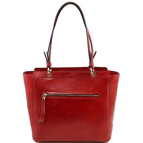 Tuscany Leather - TL NeoClassic - Borsa shopper in pelle con doppi manici Talpa scuro - TL141231/97 Rosso