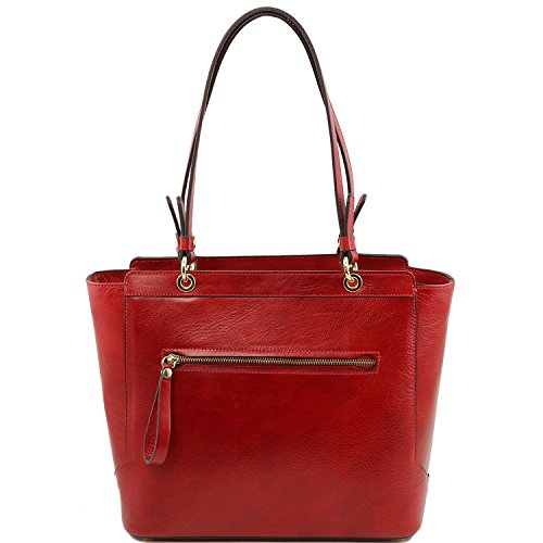 Tuscany Leather - TL NeoClassic - Bolso shopping en piel con dos asas Dark Taupe - TL141231/97 Rojo