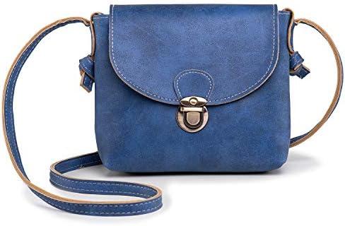 LaRechor Kleine Umhängetasche Damen mit Sicher Schloss Vegan Leder Handtasche Mini Fraue Tasche Sommer Licht Vintage - Blau
