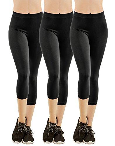 MOPAS Women's Ribbed Waistband Capri Length Plain Leggings (Pack of 3) - Black,One -