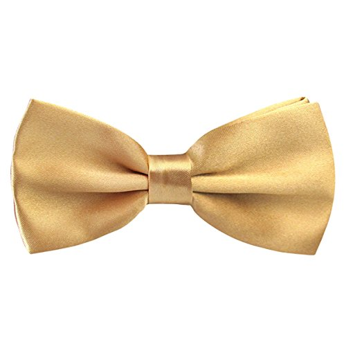 Gold Bowties - Alizeal Men's Pre-Tied Adjustable Length Solid Color Tuxedo Bow Tie, Champagne