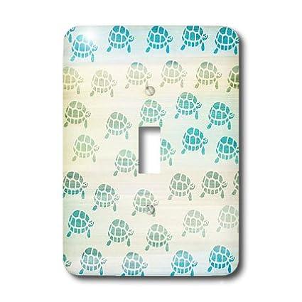 3dRose lsp/_152073/_1 Little Aqua Turtles Animal Art Light Switch Cover