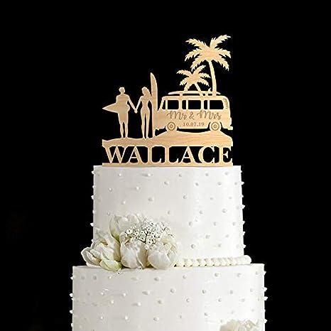 Surfing Wedding Cake Topper Vw Bus Surf Wedding Cake Topper