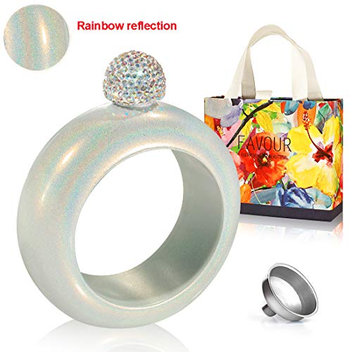 Menghao Flasks for Women-Flask Bracelet 4OZ Rainbow 304 Stainless Steel Wine Flask Bangle Gift For Women for Party,with Funnel,Silver&White