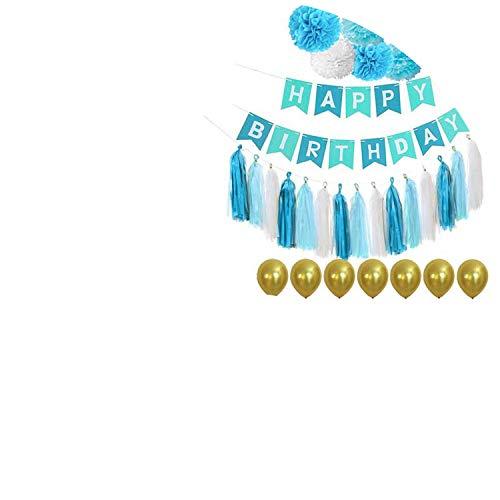 Noon-Sunshine decorative-plaques Happy Birthday Banner Tissue Paper Tassel Bunting Garland Pom Pomsation,Style 21]()