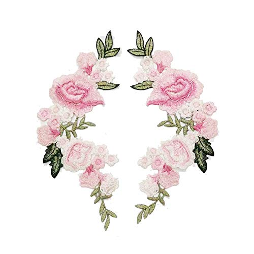 2 Pcs/Set Rose Flower Embroidery Sew On Patches Sticker for Clothes Parches para La Ropa Applique Flower Patches (Pink) ()