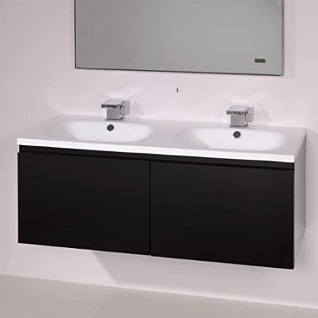 1200 Double Vanity Unit With Basin For Bathroom   Luxury Wall Hung Soft  Closing Black Gloss
