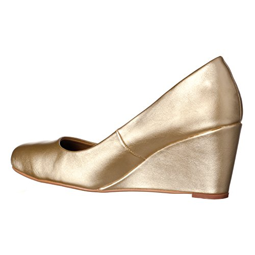 Heel Women's Wedge Mid Pumps Toe Riverberry Round Leah Gold Pu nwtAFOFx7
