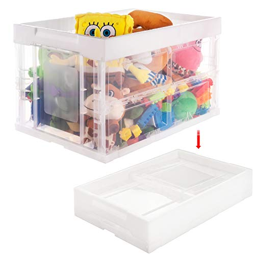 Meilocar Folding Toy Storage Box, Plastic Transparent Container for Storage,Kids Collapsible Storage Bin,Large Storage Crate for Clothes/Book,20''x14''