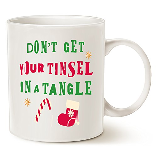 Holiday Tinsel - Funny Christmas Holiday Tinsel in a Tangle Coffee Mug, Best Christmas Gifts for family Ceramic Cup White, 11 Oz by LaTazas