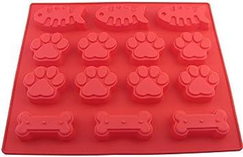 Perro patas y huesos & peces molde de silicona para horno, Bake perro gato alimento para mascotas, bricolaje perro Treats, DIY Cat Treats