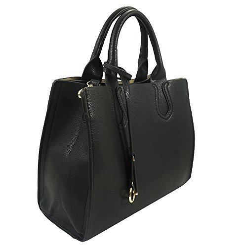 'della' Designer Inspired Black Top Handle Handbag By Inzi In-6697bl