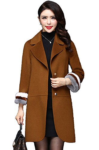Queeenshiny Women's Long Wool Coat with Mink Fur Sleeve Coffee M(8-10) by Queenshiny