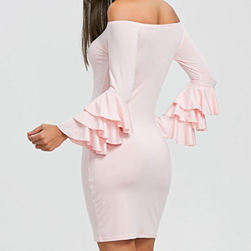Neck Womens Ladies Mini Sleeve Pink Long KIMODO Dress Ruffles Slash Casual ZYnwppgqO