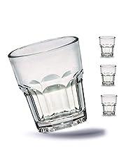 Kerafactum 4 x okrossbara glas bägare hållbara vattenglas av robust plast juice whiskyglas festmugg whiskymugg dryckesbägare i äkta glasoptik – stapelbar
