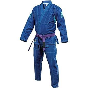Reevo Aerolight V2 Brazilian Jiu Jitsu BJJ Gi (A0, Blue w/ Blue Embroidery)