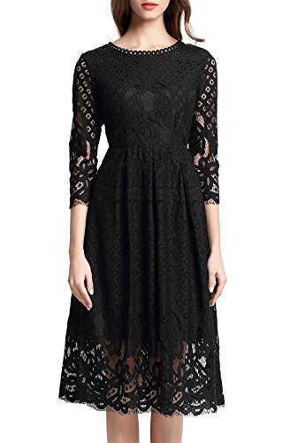 VEIISAR Women's 3/4 Sleeve Black Lace Fit and Flare Cocktail Party Dress -2H (Classic Womens Dress)