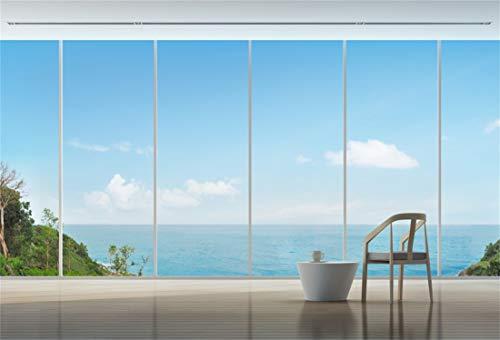 Yeele 10x7ft Vinyl Photography Background Balcony Floor to Ceiling Window Seaside White Cloud Blue Sky Hill Brown Wooden Floor Photo Backdrops Pictures Studio Props Wallpaper ()
