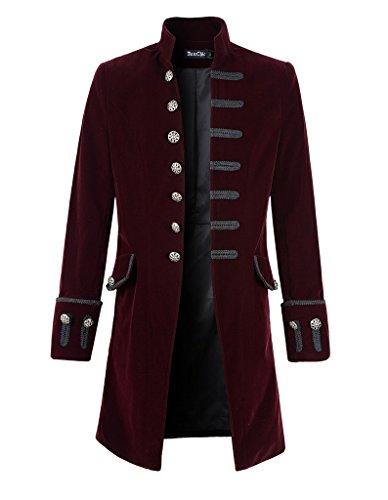 (DarcChic Mens Velvet Goth Steampunk Victorian Frock Coat (M, Burgundy))