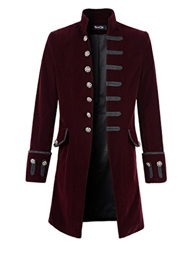 DarcChic Mens Velvet Goth Steampunk Victorian Frock Coat