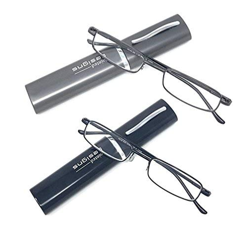 2 Pairs of Metal-Framed Reading Glasses for Men and Women in Hard Protector Cases - by Pointed Designs (+2.5, Gunmetal/Black)