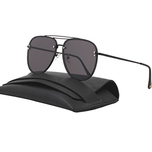 VIVIENFANG Double Crossbar Oversized Rimless Aviator Sunglasses Flat Mirror Lens Polarized Shades 87247A - Sunglasses Oversized Black Aviator