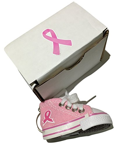 """Pink Ribbon Key Ring (Pink Ribbon Cancer Awareness Shoe Keychain Gift Box Encourages Women to """"Fight Like a Girl."""")"""