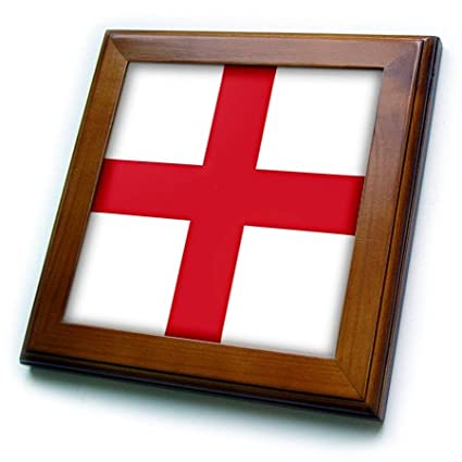3dRose ft/_158310/_1 Flag of England English Red St 8 x 8 Georges Cross on White United Kingdom British UK Great Britain Framed Tile