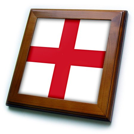 3dRose ft_158310_1 Flag of England English Red St. Georges Cross on White United Kingdom British Uk Great Britain Framed Tile, 8 x 8