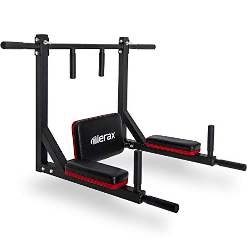 Merax Wall Mounted Pull-Up Bar - Multi-Grip Chin-Up Bar Dip Stand Power Tower Set for Home Gym Strength Training Equipment [Supports 440LBS] (Black & Red) by Merax (Image #1)