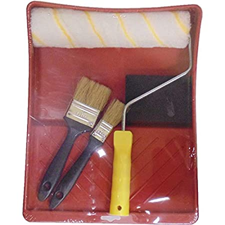 Pack Formado por un Rodillo de 180 mm de Poliamida un Taco de Lija y una Bandeja de PVC. Sbrico Kit Rodillo Antigota Dos Brochas de Distinto Tama/ño