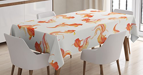 Ambesonne Japanese Decor Tablecloth, Chinese Goldfish Ancient Symbolic Spiritual Celestial Bubble Eye Artsy Illustration, Rectangular Table Cover for Dining Room Kitchen, 52x70 Inches, Orange Beige ()