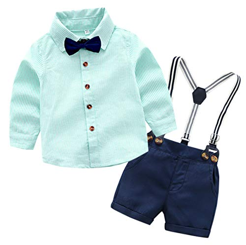 Baby Boys Dress Clothes, Boys Long Sleeves Button Down Dress Shirt with Bow Tie + Suspender Shorts Set Summer Gentlemen Outfit U01 Green, 12-18 Months/Tag 90
