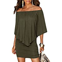 Sidefeel Women Off Shoulder Ruffles Bodycon Mini Dress