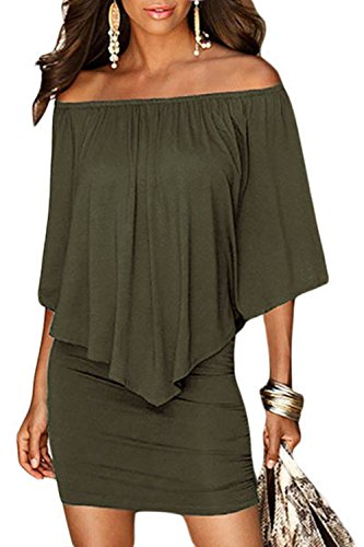 Sidefeel Women Plus Size Off Shoulder Ruffles Party Mini Dress X-Large Green