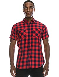 "<span class=""a-offscreen"">[Sponsored]</span>Mens Hipster Hip Hop Plaid Short Sleeved Checkered Shirts"
