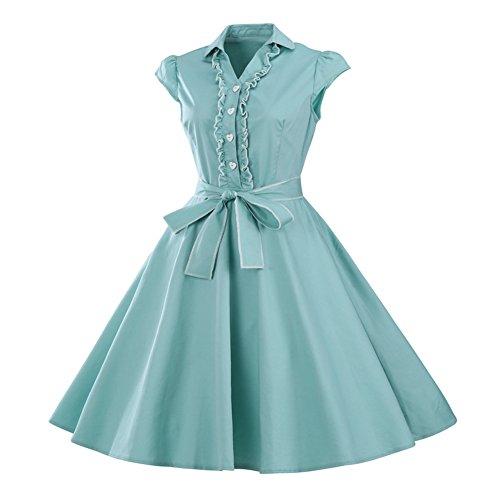 Les Années 1950 Mancherons Col Vintage V Femmes Balancer Une Robes De Soirée Rétro Ligne Vert Clair